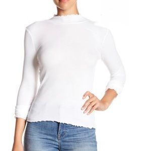 Abound Lettuce Edge Knit Top Ivory 2 left NWT